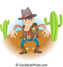 cartoon cowboy illustration - An illustration of a cowboy...
