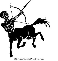 centaur illustration - Monochrome vector illustration of a...