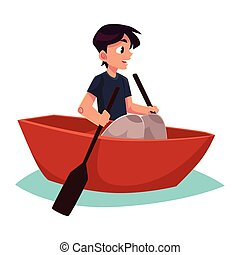 Boy swimming in little boat, kayak, summer vacation concept