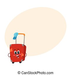 Big red suitcase character with many labels, travelling...