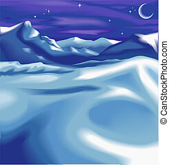 christmas landscape background - Beautiful snowy night time...