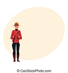 Canadian policeman in traditional uniform, scarlet tunic and...