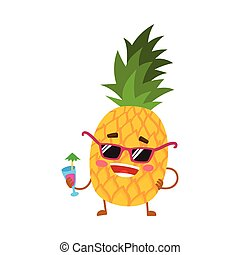 Cute and funny pineapple character in sunglasses holding a...