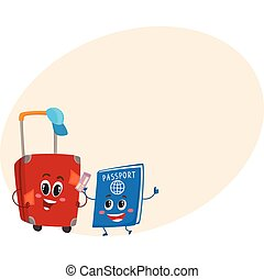 Suitcase and passport characters, travelling, vacation...