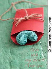 valentine green heart in red envelope