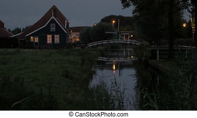 Evening in Dutch village - Evening rural scene with house in...