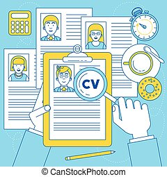Human resources manager is doing research on CV and resume...