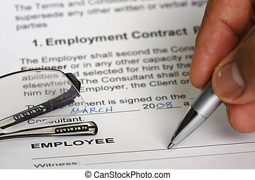 Employment contract signing concept - many uses for jobs and...