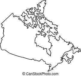 Map of Canada icon, outline style