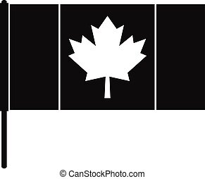 Canada flag with flagpole icon, simple style - Canada flag...
