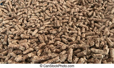 Wood pellets - Close-up view of many wood pellets