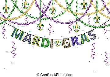 Mardi gras greetings with beads and confetti isolated on...
