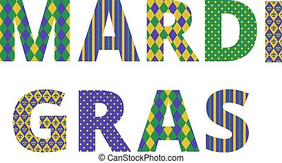Mardi gras greetings with traditional pattern letters...