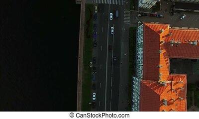 4k aerial shot of Saint-Petersburg embankment. drone shot