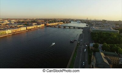Aerial shot of Saint-Petersburg with view on river Neva and...