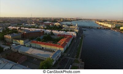 4k aerial shot of Saint-Petersburg with view on river Neva, Palace bridge, Hermitage and Petr and Paul fortress