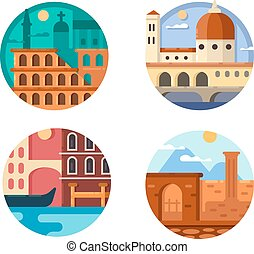 Italy set icon. Rome and Venice - Italy set. Colosseum in...