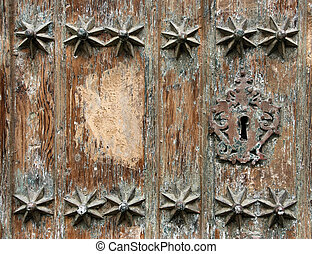 Old keyhole - Key hole in vintage Valladolid cathedral door