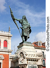 Valladolid - Count Pedro Ansurez at Plaza Mayor, town square...