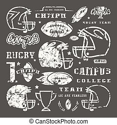 Icons set of campus rugby team. Graphic design for t-shirt....