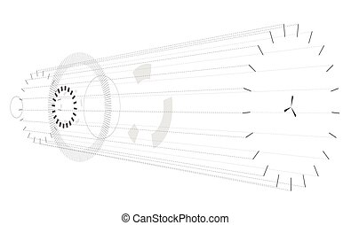 Abstract horizontal composition on white background. Vague circular isometric composition.