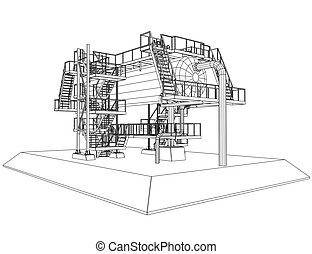 Wire-frame Oil and Gas industrial equipment. Tracing...