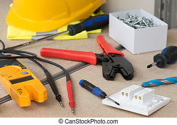 Electrical Gear and Safety Equipment on Cork Shelf -...