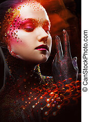 Young attractive girl in bright art-makeup, body painting....