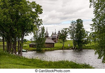 wooden hut in Kizhi island lake Onega - wooden churches and...