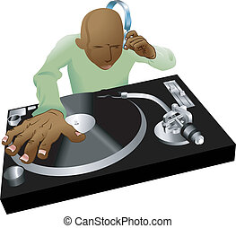 deejay mixing illustration - Illustration of dynamic DJ...