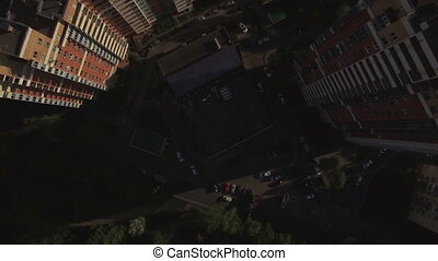 Aerial view of sleeping buildings and complexes with yard...