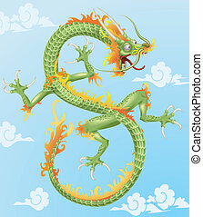 Chinese Dragon - An illustration of an oriental style...