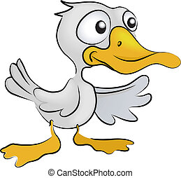 duck Illustration - A vector illustration of a cartoon duck,...