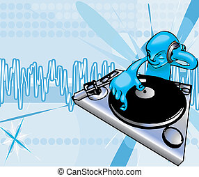 funky dj illustration - A funky dj mixing with background on...