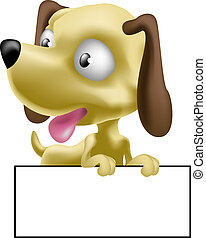 dog illustration - a cute puppy dog with sign for you to...