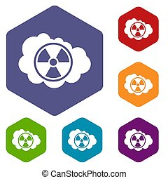 Cloud and radioactive sign icons set rhombus in different...