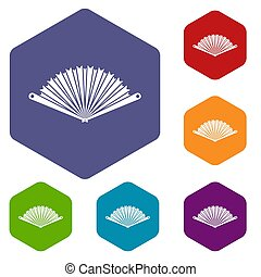 Opened oriental fan icons set rhombus in different colors...