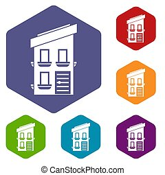 Two-storey house icons set rhombus in different colors...