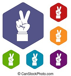 Hand with victory sign icons set rhombus in different colors...