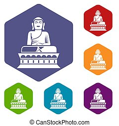 Buddha statue icons set rhombus in different colors isolated...