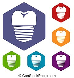 Tooth implant icons set rhombus in different colors isolated...