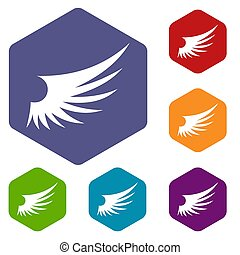 Wing icons set rhombus in different colors isolated on white...