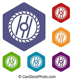 Circular saw blade icons set rhombus in different colors...
