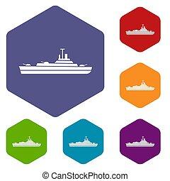 Navio guerra, jogo, ícones