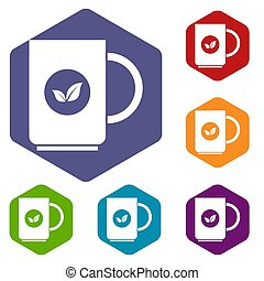 Cup of tea icons set rhombus in different colors isolated on...