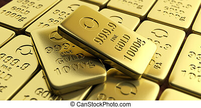 Gold bullion bars background. 3d illustration - Gold bullion...