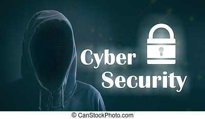 Cyber security on black background. 3d illustration - Cyber...
