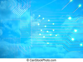 Abstract electronic circuit background. 3d illustration