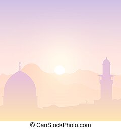 Sunset landscape with mosques.