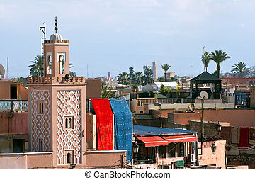 Marrakesh Morocco - View over the historic city of...